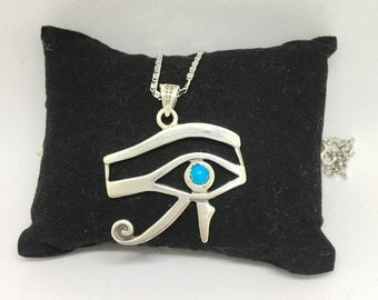 Eye of Horus Pendant Necklace, Sterling Silver 925 necklace. Egyptian Jewelry, Egyptian Eye of Horus Jewelry