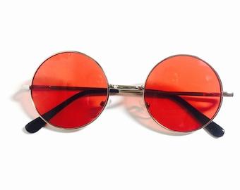 Vintage 90s Infrared Lens Round Frame Circle Sunglasses