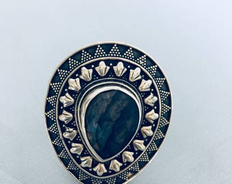 Labradorite and silver ring