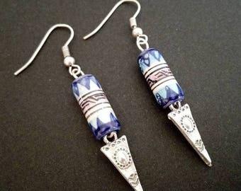 Ethnic Earrings | Peruvian Ceramic Earrings | Antique Silver Plated Earrings |Tribal Earrings |  Boho  Earrings | Aztec Earrings