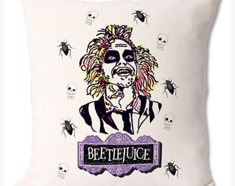 Bettlejuice hand illustrated decorative cream cushion. Pillow and cover. 46cmx46cm