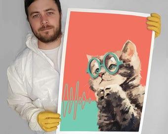 Interferometry Kitten - A2 Print