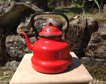 French Enamelware- Red Vintage Kettle-French cuisine