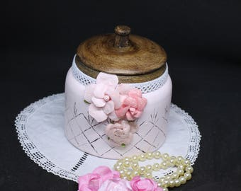 Cotton or Shabby chic style candy jar