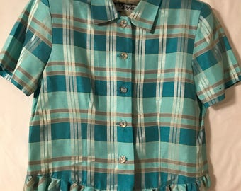 Turquoise Plaid sateen Blouse with ruffled bottom