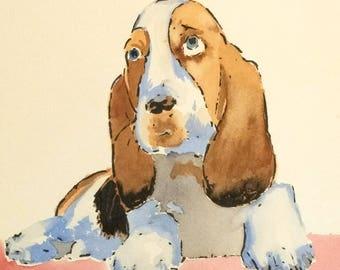 Original watercolor of a Basset Hound