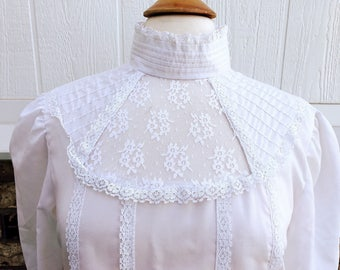 Vintage New Fashions Creation lace blouse, vintage ling sleeve turtleneck blouse, lace top, vintage lace top, vintage white lace blouse