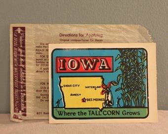 Vintage 1960's Iowa Window Decal Sticker by Lingren-Turner, Co. Made in the USA