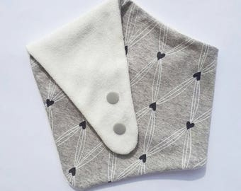 Organic cotton and bamboo grey heart bandana bib