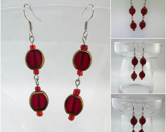 Ruby Red Gold Framed Glass Bead Custom hand made earrings - Free Shipping to USA & CANADA