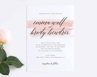 Printable Watercolor Wedding Invitation Suite, Rustic Wedding Invitation, Minimalist Wedding Invitation, Square Wedding Invitation