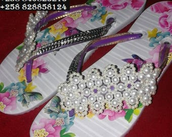 Slippers decorated with Beads