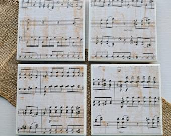 Music Note Ceramic Coasters, Sheet Music Coaster Set, Music Lover, Musician Gift, Piano Teacher, Ceramic Coaster Set, Music Teacher Gift