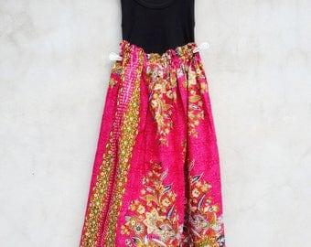 Thai Batik Skirt, Thai traditional print pink tone with  elastic waist