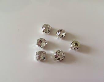 10 rhinestones sewing 7 mm silver Crystal