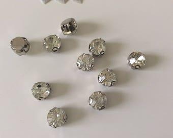 Set of 10 piece silver 8 mm Crystal rhinestones