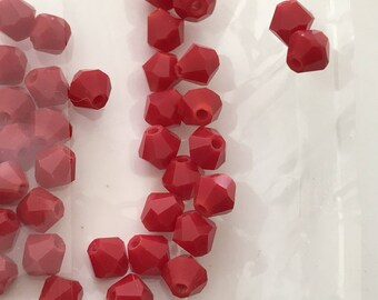 100 bicone 4 mm opaque red crystal bead