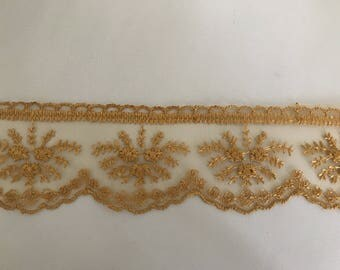 Ribbon lace 5.5 cm approximately yellow tulle