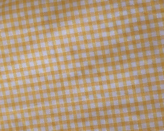 Fabric has little yellow plaid with stripes silver