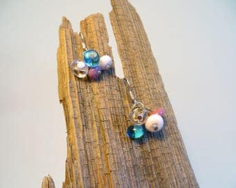 Purple pink and blue cluster earrings