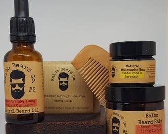 Beard and Moustache Gift Set. Contains 1 x tashe wax, 1 x beard balm, 1 beard oil, 1 x Beard soap, 1 x soap dish, 1 x beard comb. Natural.