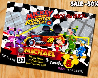 Mickey And The Roadster Racers Invitation - Mickey And The Roadster Racers Birthday Party Invite