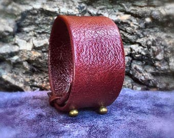 Leather Red Bracelet, Leather Handmade, Jewelry Supplies, Leather Supplies, Burgundy Wide Bracelet, Coburn With Clasp Bracelet