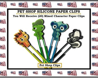Pet Shop Paper Clips Character Cartoon Paper Clips Birthday favors Goody Bags Office Accessories Office Gifts Super Sweet Stocking Stuffers