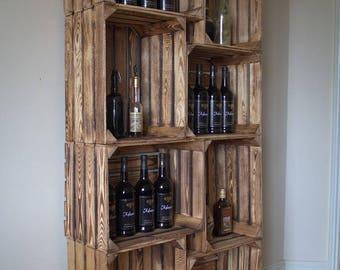 Set of wooden shelves (6 pieces), bookshelf, bottle rack, living room, kitchen rack, Phonoschrank, shelf, shoe cabinet, bottle rack, TV cabinet