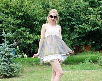 Ivory babydoll dress - short dress with lace - sleeveless summer dress