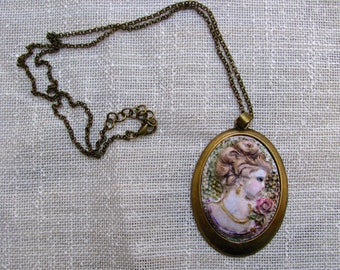 Cameo/necklace VINTAGE in polymer clay ... hand carved