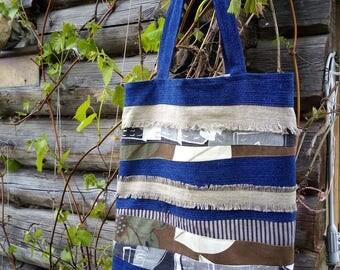 shopping bag,upcycled shoulder bag, market bag,linen shopping bag, Large natural linen,denim,cotton tote bag, upcycled shopping bag,