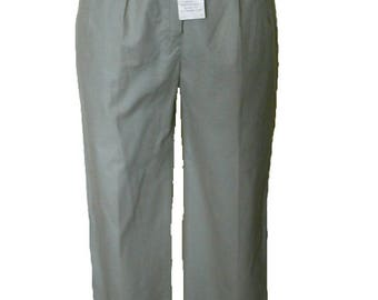 Marks and Spencer Sage Green Chinos With Belt, Size 12 Long. Brand New Vintage 1980s