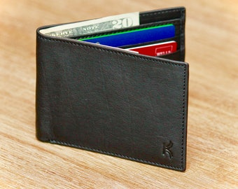 Men's Leather Wallet RFID Blocking Wallet for Men Slim Wallet Bifold Wallet Handmade Wallet Secure Credit Card From Identity Theft