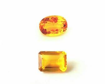 Natural Citrine Loose Gemstones Jewelry Making Craft Supplies - 2 Sizes (502979)