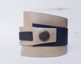 Cream Bronze Leather Bracelet for women, leather cuff, Cuff Bracelet, wide leather strap, asymmetrical leather bracelet ladies, Lemore
