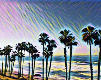 Three Piece Palm Tree ~ Trees ~ Palm Trees ~ Sunset ~ Beach ~ Ocean ~ So Cal ~ Photography ~Wall Art ~ Digital Print ~ San Clemente