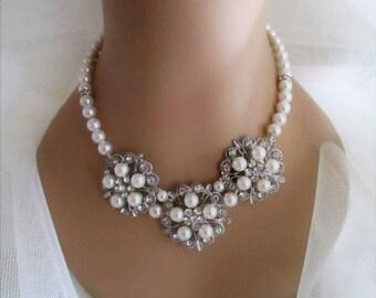 Diamante & Pearl Statement Necklace