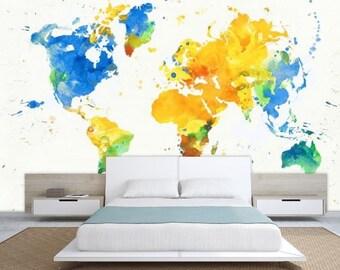 world map wall mural, painting map wallpaper, colorful world map, watercolor world map, world map decal, modern world map wallpaper, map