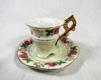 Vintage Ucagco Demitasse Cup and Saucer - Iridescent - Floral - Hand painted - Made in Japan