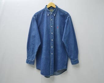 POLO COUNTRY Ralph Lauren Vintage 90's Polo Country Ralph Lauren Hamilton Button Down Long Sleeve Denim Shirt Size M