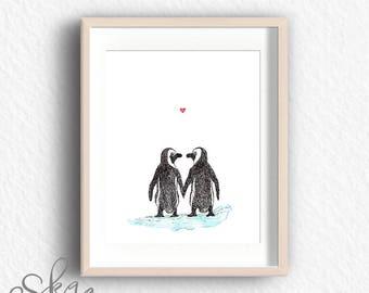 Penguin print, anniversary gift, penguin art, penguin poster, penguin wall decor, penguin nursery, gift for wife, wedding gift, gift for her