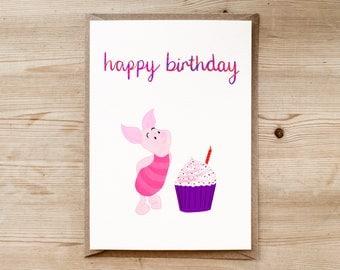 Piglet Birthday Card | Winnie the Pooh Card | Disney Birthday Card | Childrens Card | Disney Card | Purple Card | A.A. Milne Card | Kids |