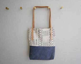 The Marrakech Mud Cloth Bag - Purple Leather, African Mud Cloth and Italian Linen Shoulder Bag