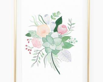 Pastel Bouquet - Watercolor Art Print
