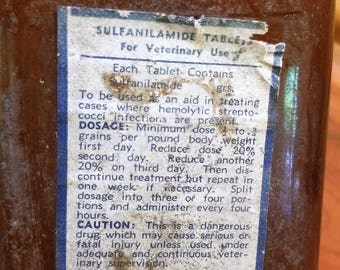 Vintage Veterinary Medicine Bottle, Antique Veterinary Medicine Bottle, Sulfanilamide Tablets, Vintage Bottle, Antique Bottle, Glass Bottle