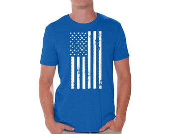 USA Flag Shirt T shirt Tops Patriotic Independence Day 4th of July White US Flag Vintage