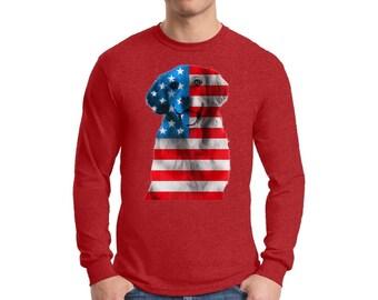USA Flag Golden Retriever Shirt Long Sleeve T shirt Tops Independence Day Pet Lover Gift USA
