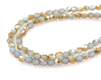 100/pc Milky Aquamarine Celsian Czech 4mm Fire-polished Faceted Round Beads