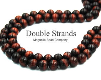 """Two 15"""" strands Red TigerEye Beads 6mm Grade A"""